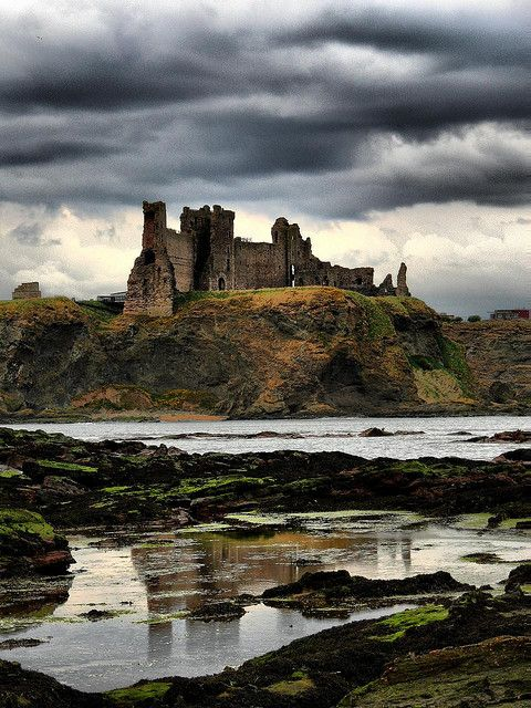 Tantallon Reflections, Scotland built in the mid 14th century by 1st Earl of Douglas