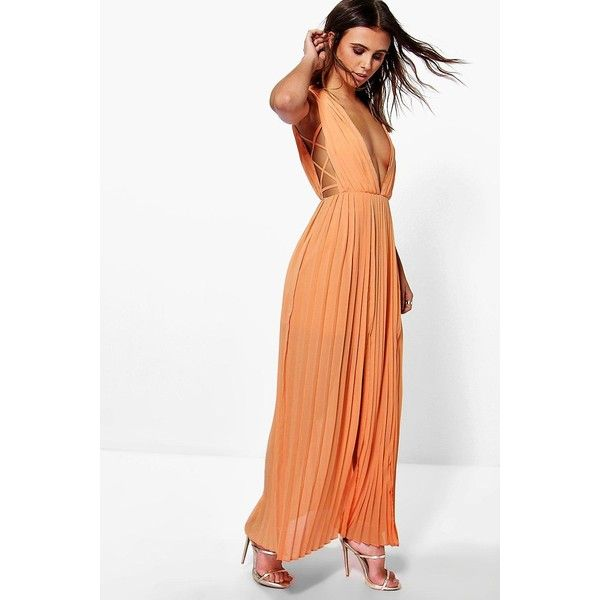 Boohoo Petite Petite Mel All Over Pleated Strappy Side Maxi Dress ($52) ❤ liked on Polyvore featuring dresses, apricot, holiday party dresses, petite dresses, white pleated dress, white dress and going out dresses