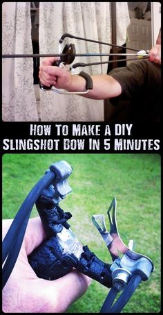 How To Make a DIY Slingshot Bow In 5 Minutes - Ammo and weapons will probably be hard to come by if SHTF. Thats why it is important to always have a backup. This little slingshot bow has enough power to take down small game.