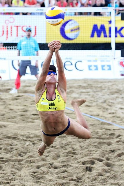 Taiana Lima from Brazil Digging it.FIVB beach volleyball tournament in Quebec, Canada. #FIVB #beach #volleyball