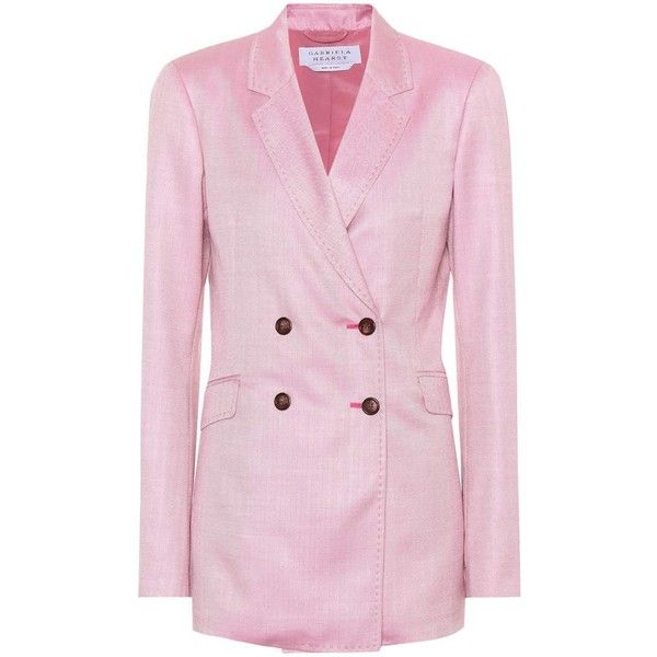 Gabriela Hearst Miles Double-Breasted Blazer ($2,175) ❤ liked on Polyvore featuring outerwear, jackets, blazers, pink, pink blazer, double breasted jacket, pink blazer jacket, gabriela hearst and double-breasted blazers