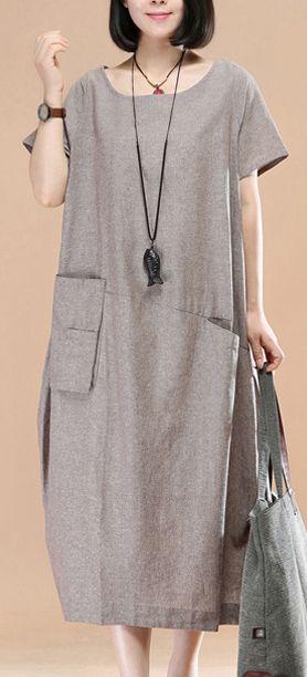 stylish khaki linen shift dress plussize traveling dress women asymmetric short sleeve cotton dresses