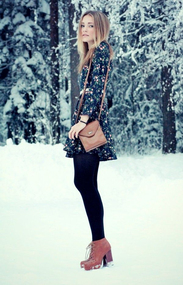 Great way to wear floral in winter!
