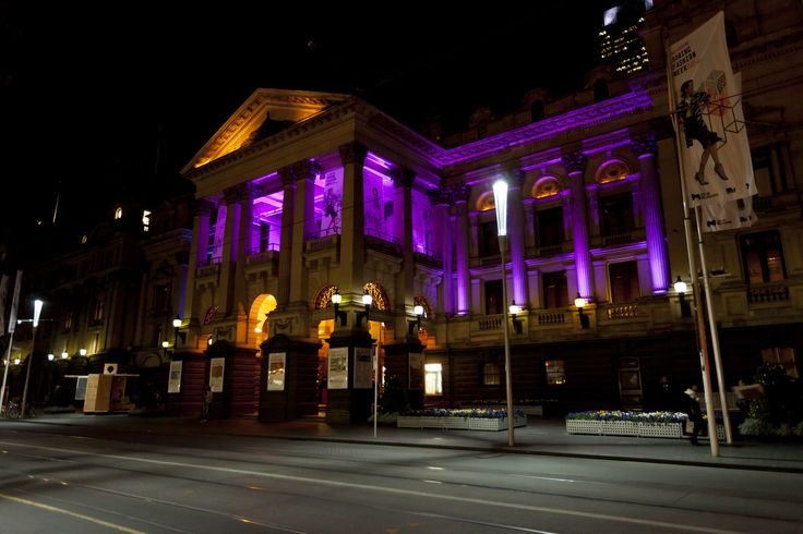 The violet glow continued outside for the Bank of Melbourne's anniversary dinner at Melbourne Town Hall!