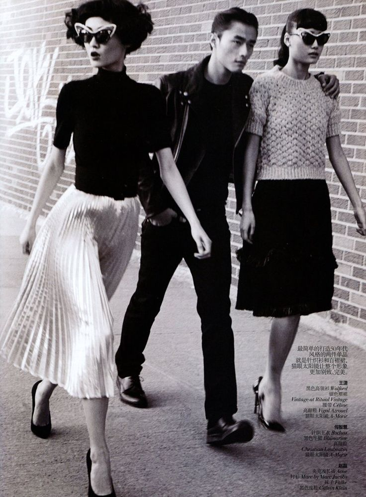 We Go Together – Captured by Lincoln Pilcher, models Wang Xiao, Lily Zhi and Zhao Lei get caught in a love triangle for the March edition of Vogue China. Garbed in 50′s style outfits from labels such as Alexander Wang, Dolce & Gabbana, Marc Jacobs and Calvin Klein selected by stylist Morgan Pilcher. Whether at an ice cream shop or in a vintage car, the trio keeps it cool in the retro attire. / Hair by Jordan M, Makeup by Tamah K