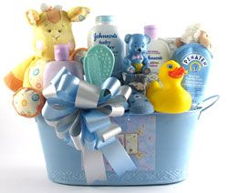Made especially for that new baby boy, this gift basket has it all! A beautiful re-usable baby blue metal tin, a plush animal, a shhhh...baby sleeping door hanger, a plush rattle, a brush and comb set, a pair of socks, a rubber ducky, a animal rattle and the following full size care products: Johnson's baby cornstarch, Johnson's bedtime lotion, Johnson's bedtime bath and Penaten diaper cream.