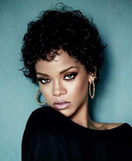 Rihanna Short Curly Pixie Hair