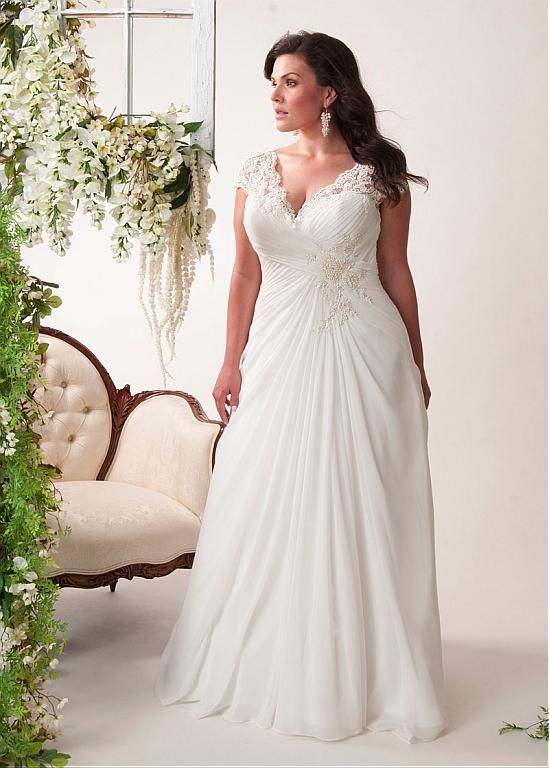Elegant Chiffon V-neck Neckline A-line Plus Size Wedding Dresses with Lace Appliques
