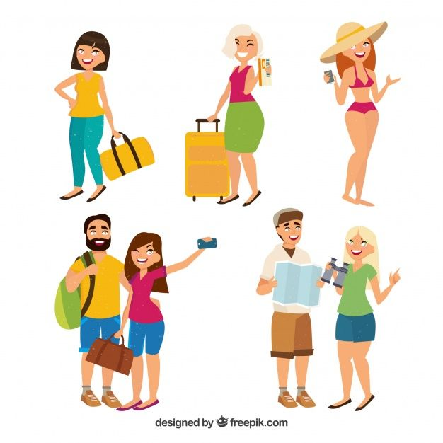 People traveling in hand drawn style Free Vector
