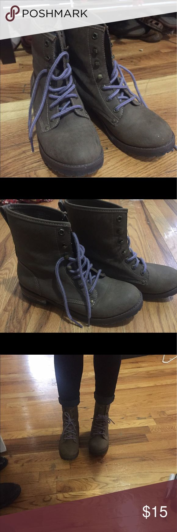 Tan short combat boots Cute boots with purple laces; almost perfect condition; great in all weather. Best offer or bundle//no trades pls! Hard Candy Shoes Combat & Moto Boots