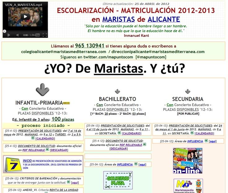 Nueva sección en nuestra web con información sobre el proceso de escolarización 12-13. ¿YO? De Maristas. Y ¿Tú?  http://www.maristasalicante.com/inicio/escolarizacion/escolarizacion.html