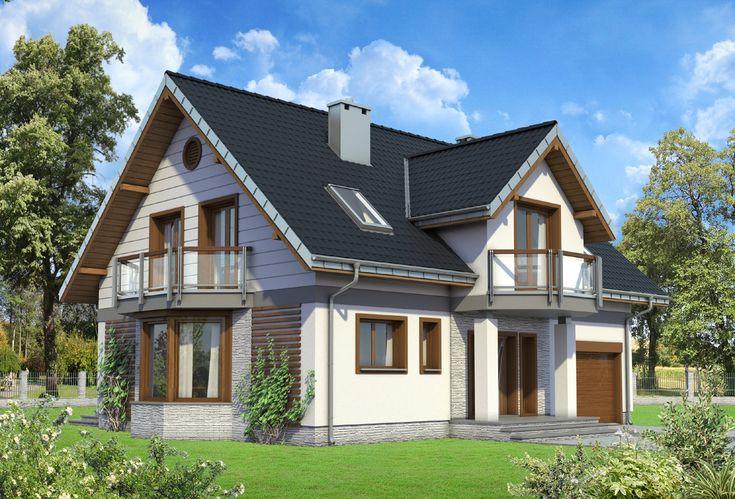 Projekt domu Zofia Ultra - dom o nieskomplikowanej bryle budynku, z balkonikiem nad wejściem