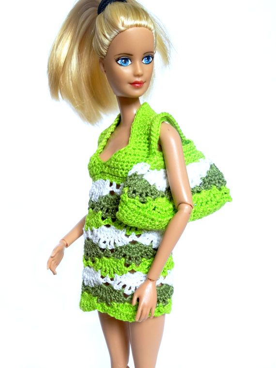 Barbie beach dress  neon green crochet by RianasBarbieCloset