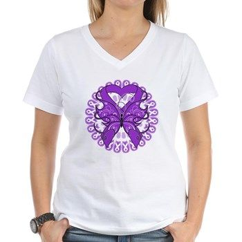 Stunning Pancreatic Cancer Butterfly Ribbon perfect for Pancreatic Cancer Awareness Month featuring a purple ribbon design by hopedreamsdesigns.com #pancreaticcancerawareness #pancreaticancershirts