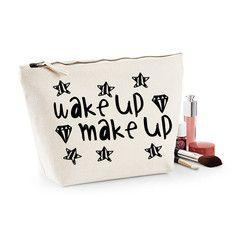 Wake Up And Make Up Canvas Makeup Bag