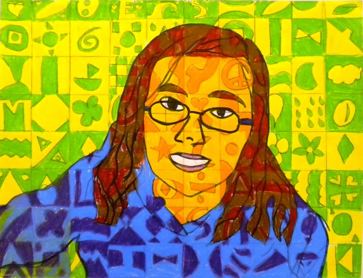 """I photographed each student casually as they were working at their seat in their sketchbooks.  I used http://www.dumpr.net/ to turn their photo into a sketch and printed them out.  Students outlined the major lines of their face with sharpie, then used a light box to transfer it onto a blank piece of 9x12 construction paper, again in sharpie.  Next step is to draw a 1""x1"" grid over the top of their portrait with a ruler and pencil, covering the entire page...."""