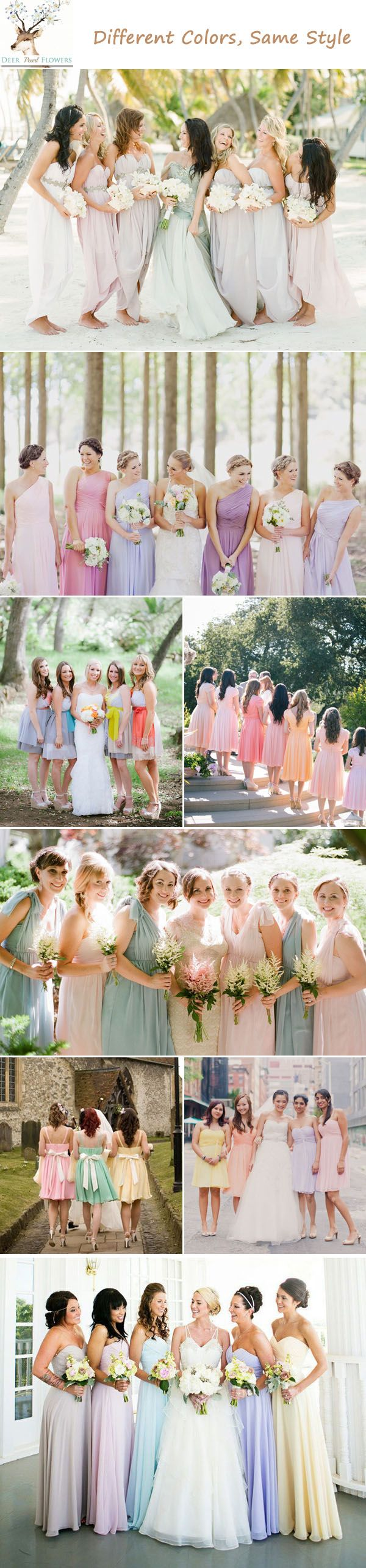 Top 6 Ways to Do Mismatched Bridesmaid Dresses | http://www.deerpearlflowers.com/top-6-ways-to-do-mismatch-bridesmaid-dresses/