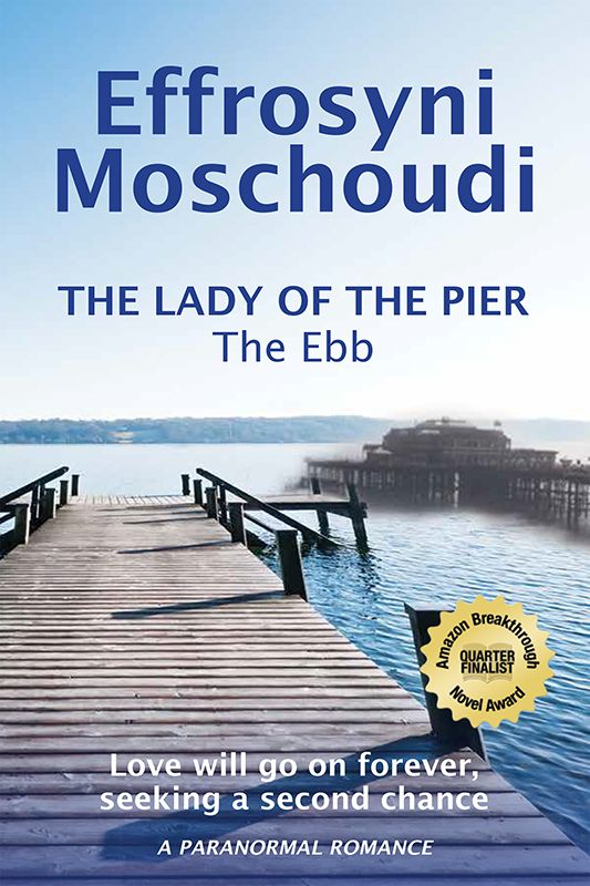 The Ebb: book 1 in The Lady of the pier trilogy http://effrosyniwrites.com/books When Sofia, a Greek student, falls in love with a British tourist on the Greek island of Corfu, she has two things to worry about: village gossip and a grieving spirit that begins to haunt her . . .