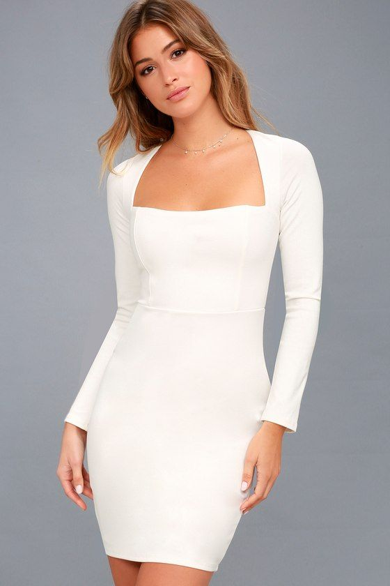 30+ White long sleeve fitted dress info