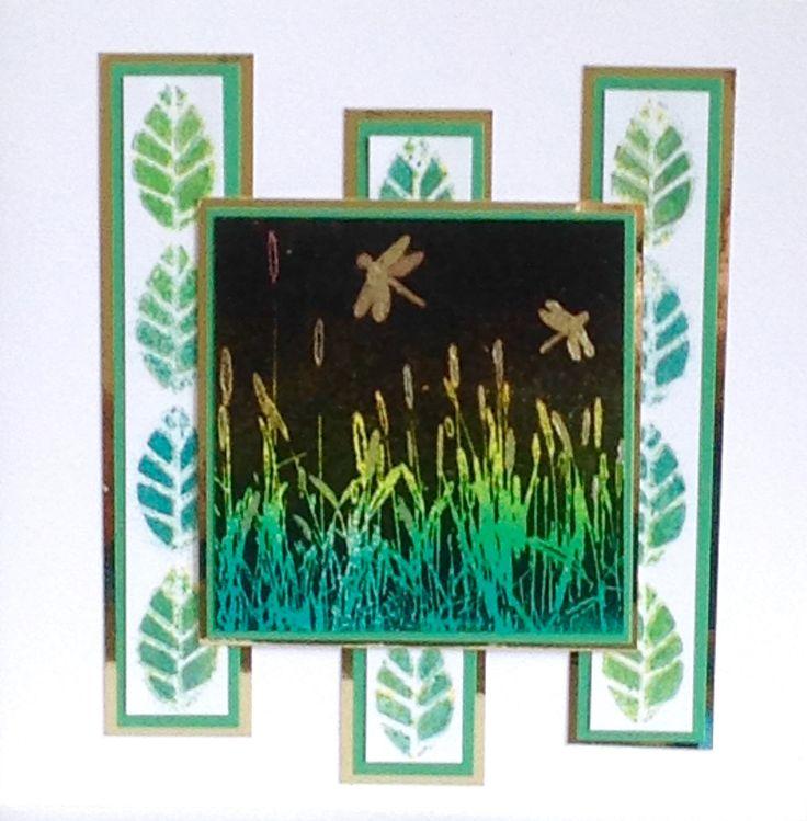 Handmade card by Lisa B. Art Stamps, leaf stencil.