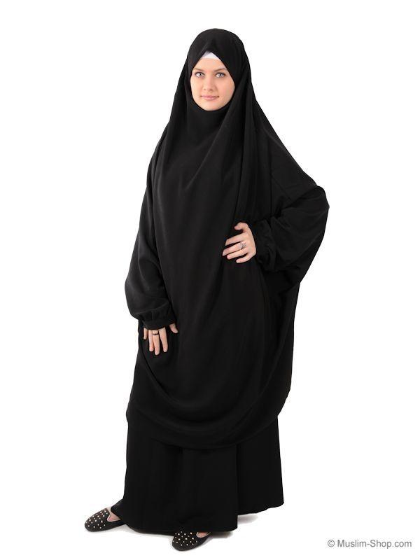Jilbab Set (Khimar & Rock) mit Gummibund schwarz