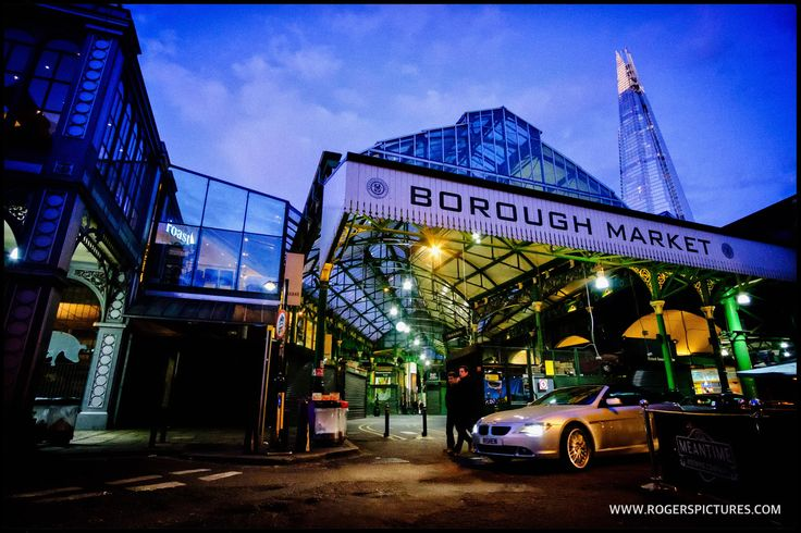 Borough Market at dusk, the setting for this wonderful wedding -