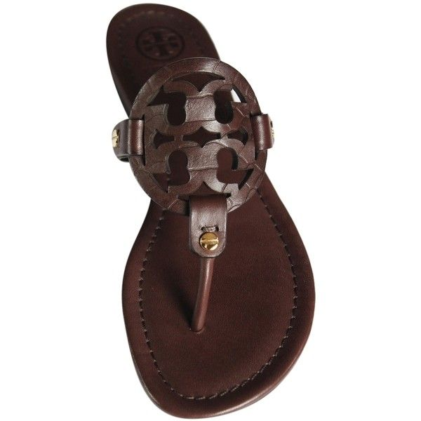 Pre-owned Tory Burch Brand New In Box And Dust Bag Miller Flat Thong... ($190) ❤ liked on Polyvore featuring shoes, sandals, flip flops, dark brown chocolate, tory burch sandals, leather flip flops, leather sandals, synthetic leather shoes and snakeskin shoes