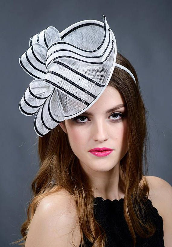 9a0fc49d Black and white fascinator hat. Black and white saucer hat. Black ...