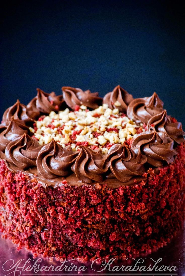 Amazingly delicious and decadent Chocolate Red Velvet cake! Recipe in link