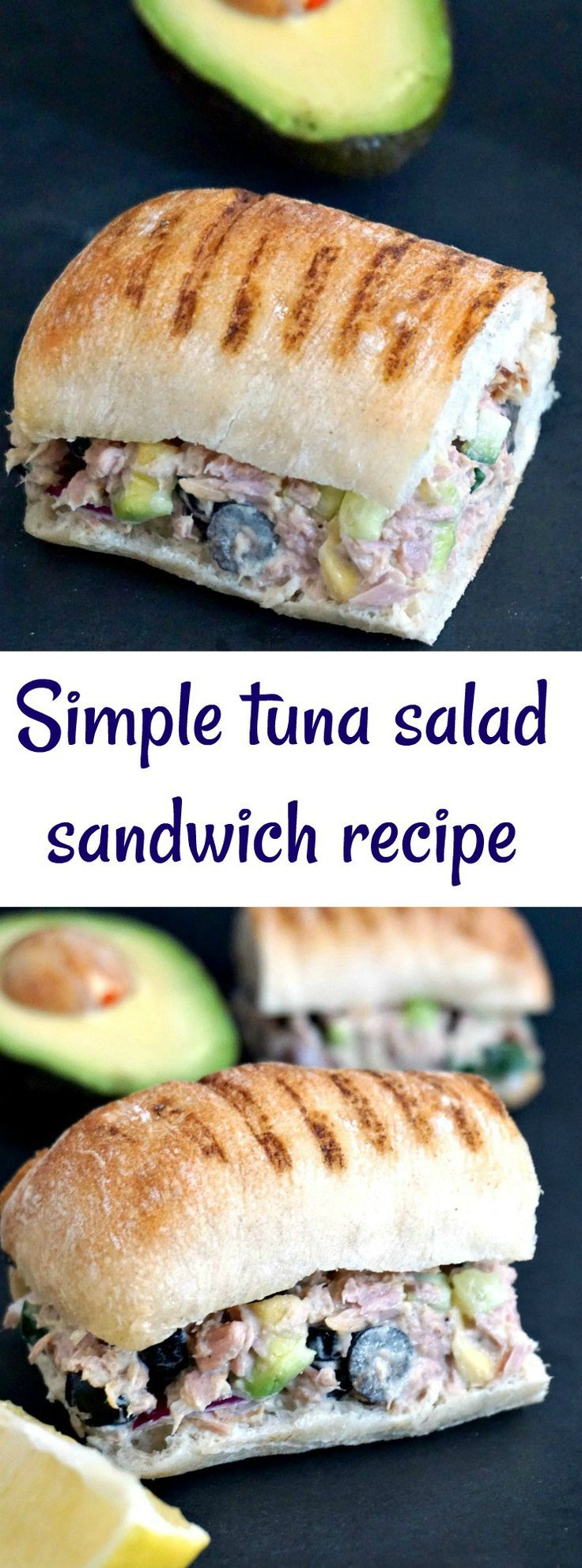 Simple tuna salad sandwich recipe with avocados, black olives and cucumber, healthy, filling and so delicious. A quick and easy, and so healthy lunch or dinner.