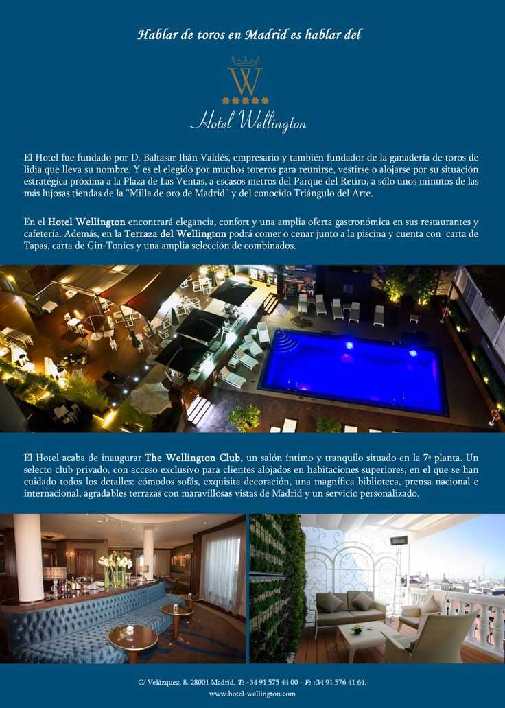 Hotel Wellington de Madrid. Hotel 5 Estrellas. Calle Velázquez 8.
