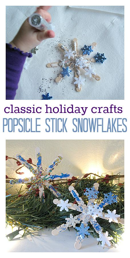 Such a classic Christmas craft. Popsicle stick snowflakes!