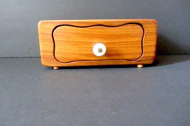Vintage jewelry box, hand made box, Wooden keepsake box, cigarette box, key safe, 50's wooden box, treasure chest, rustic box, boho jewelry by lovesknitting on Etsy