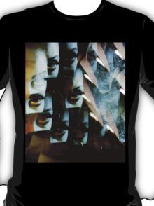 Multi-image surreal portrait of young lady in the dark in surrealist blue green tones T-Shirt