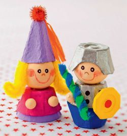 Egg carton craft for kids - toy knight and princess - cute, only photo, no directions