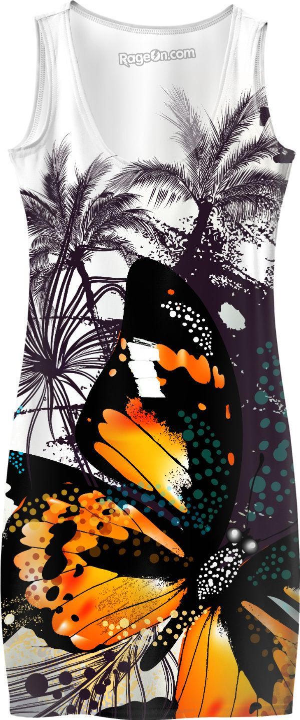 New design in shop for summer : Tropical dress with butterfly. Brown and white soft colors and warm look. Amazing hand-drawn asia - inspired art.