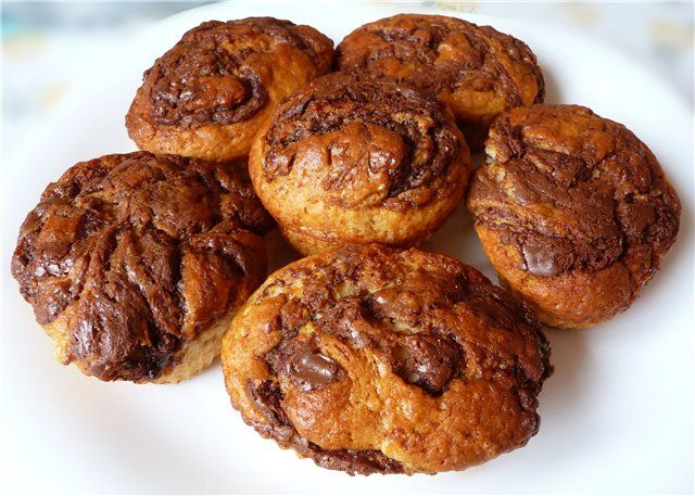 Banana Muffins with Nutella (recipe in Russian)