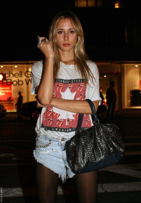gillian zinser. studded cutoffs w/ tights and a rock tee.
