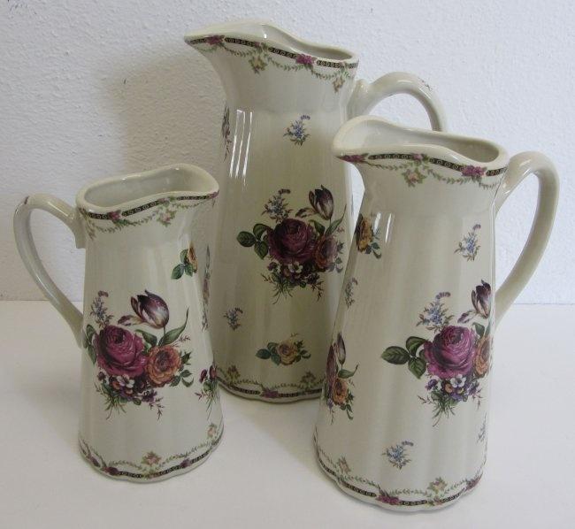 3 Large Porcelain Pitchers