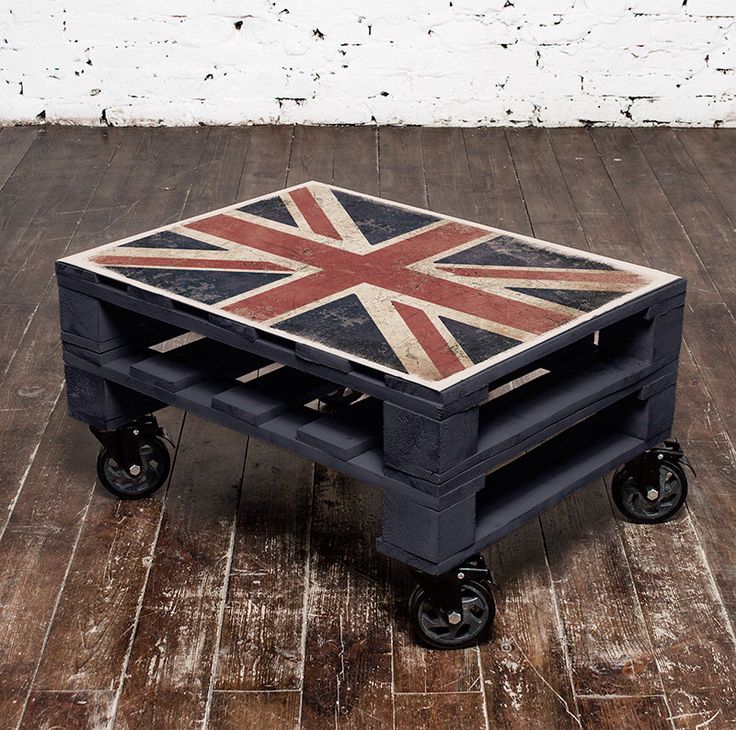 union jack pallet coffee table with metal plate top