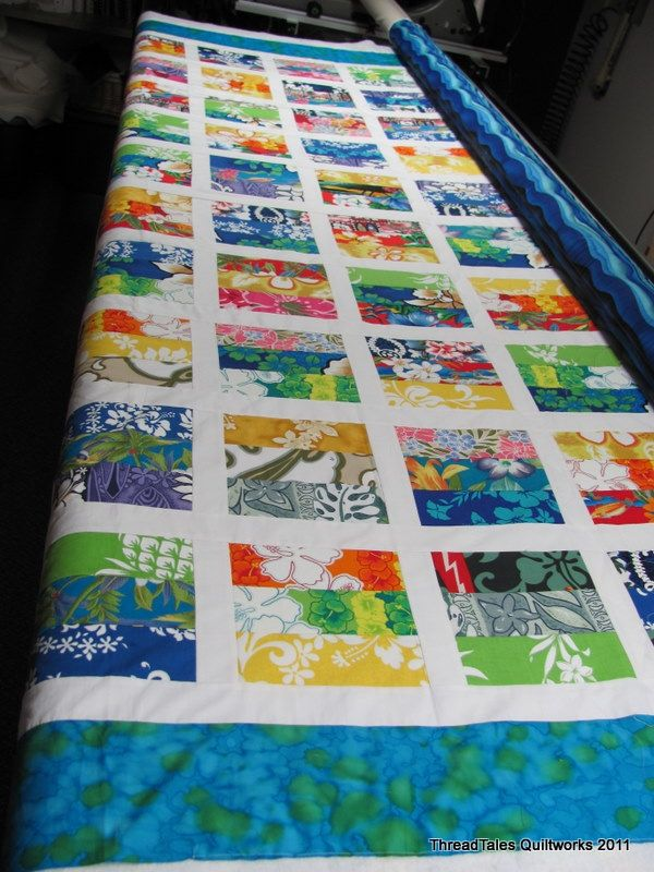 Hawaiian patterned patchwork quilt....  Love this idea....it's exactly what I need to do with all my Hawaiian fabric scraps :)