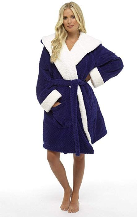0edda3b8ba0eb Luxury Dressing Gown Ladies Super Soft Robe with Fur Lined Hood Plush  Bathrobe for Women (M, Navy Waffle Pattern): Amazon.co.uk: Clothing