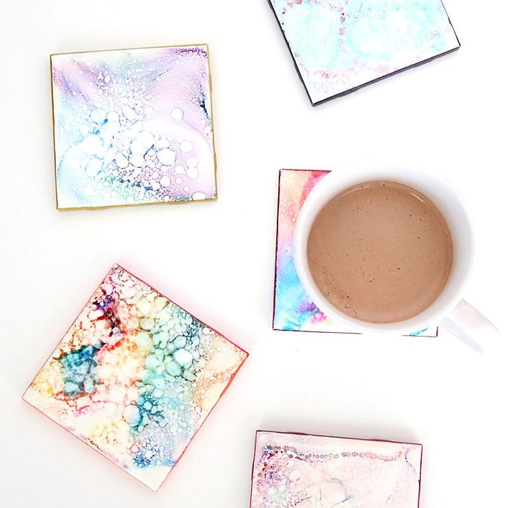 Colorful faux tile coasters are an easy, cheap, inexpensive handmade gift idea that kids can make. DIY gift for Mother's Day or Christmas.