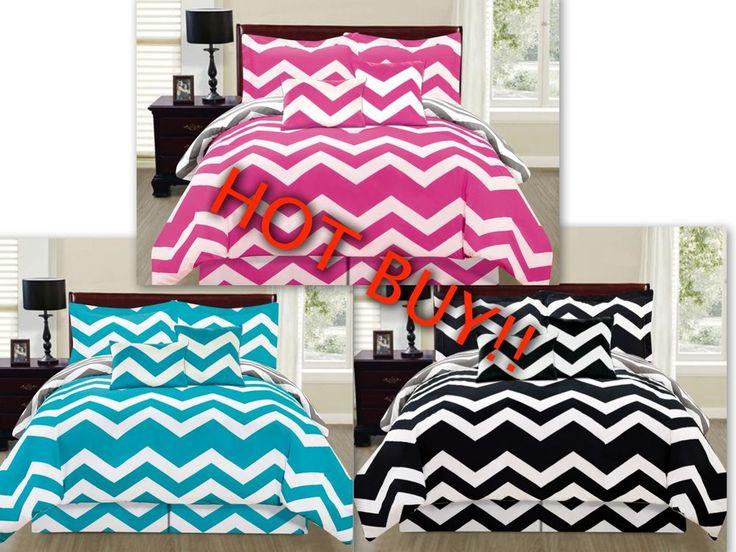 6 Piece Reversible Chevron Comforter Set New Bedding Cover Zig Zag - Hot Buy | Home & Garden, Bedding, Comforters & Sets | eBay!