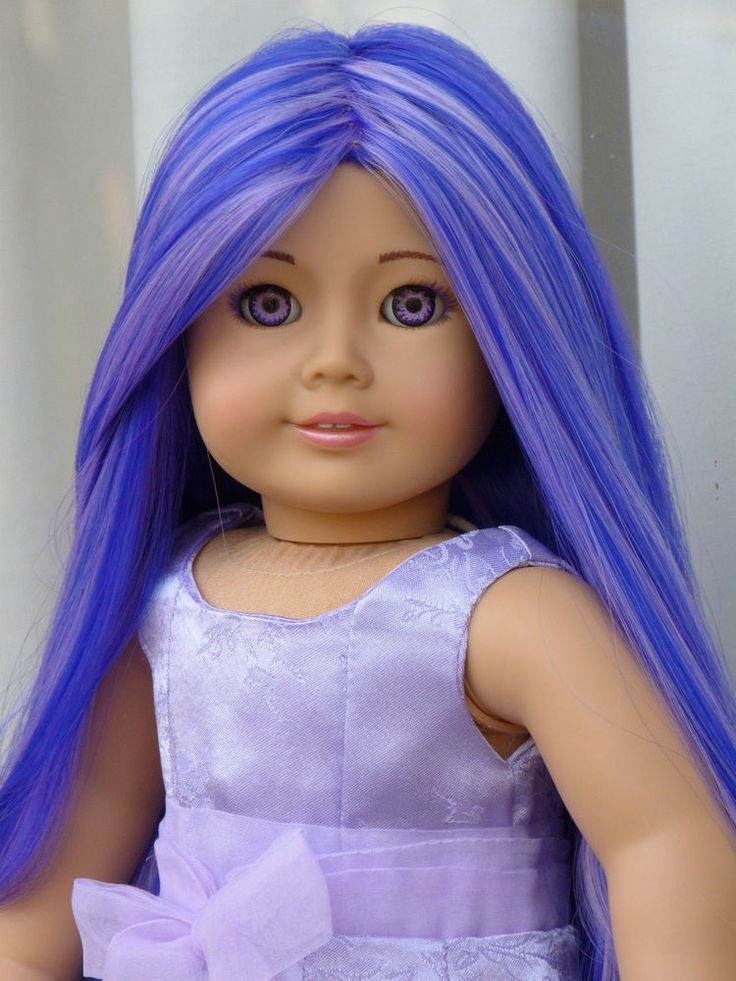"OOAK American Girl 18"" Doll Custom Long Purple Lavender Hair Hand Painted Eyes #AmericanGirl #DollswithClothingAccessories"