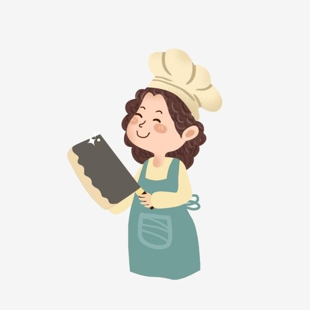 Cartoon Fresh Lovely Kitchen Knife Chef Female Chef Character Little Girl Chef Hat In 2020 Chef Logo Picture Sharing Female Chef