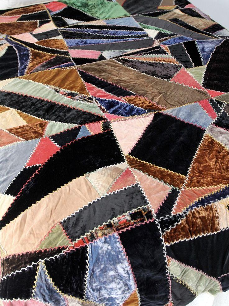 antique velvet crazy quilt