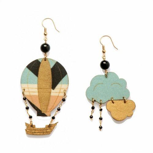 Uomolebole Earrings for Women, Black, Silk, 2017, One Size