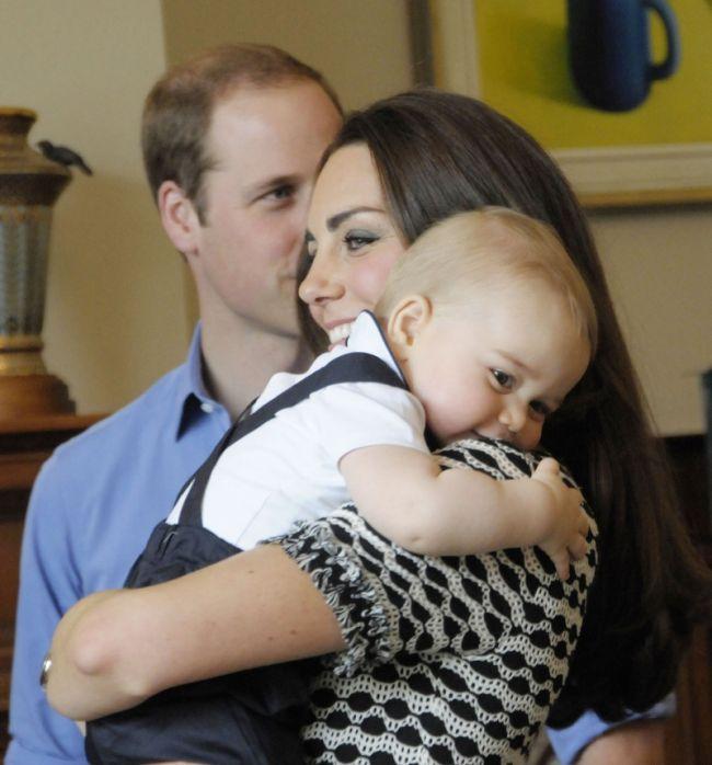 Książna Kate, mały książę Jerzy i książę William
