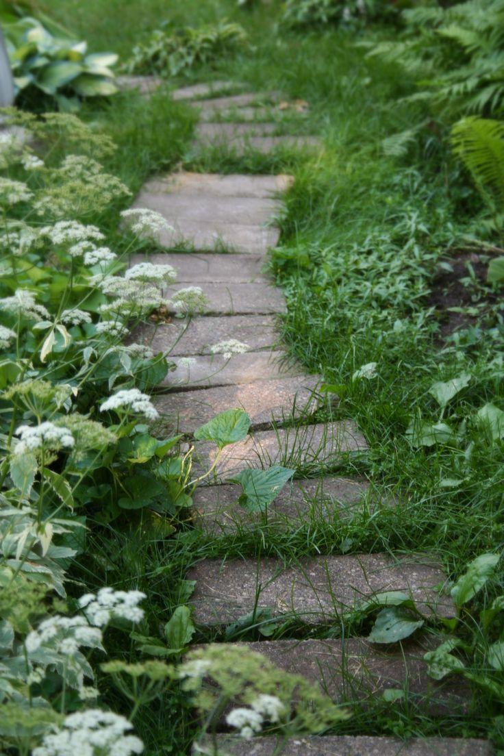 Path concrete pavers lovely gardens pinterest for Cement garden paths